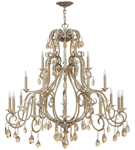 Hinkley 4779SL Carlton 21 Light 45 inch Silver Leaf Chandelier Ceiling Light, Amber Pearl Crystal photo