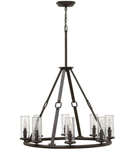 Hinkley 4788OZ Dakota 8 Light 32 inch Oil Rubbed Bronze Foyer Chandelier Ceiling Light, Clear Seedy Hurricane Shade photo