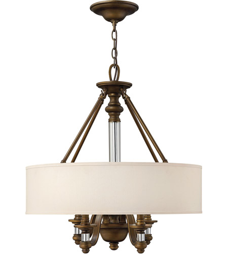 Hinkley 4797EZ Sussex 4 Light 23 inch English Bronze Inverted Pendant Ceiling Light in Off-White Fabric Shade photo