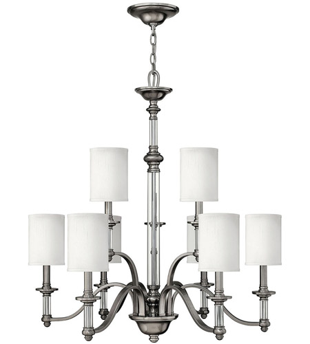 Hinkley Lighting Sussex 9 Light Chandelier in Brushed Nickel 4798BN