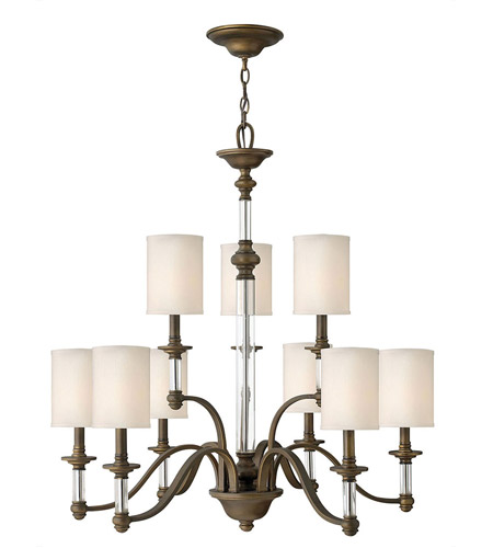 Hinkley 4798EZ Sussex 9 Light 32 inch English Bronze Chandelier Ceiling Light, 2 Tier photo