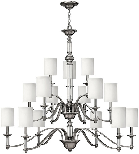 Hinkley 4799BN Sussex 15 Light 47 inch Brushed Nickel Chandelier Ceiling Light in Ivory Fabric Shade, 3 Tier photo