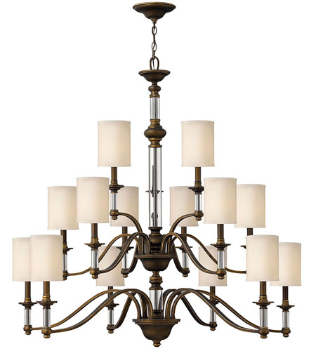 Hinkley 4799EZ Sussex 15 Light 47 inch English Bronze Foyer Chandelier Ceiling Light in Off-White Fabric Shade, 3 Tier photo