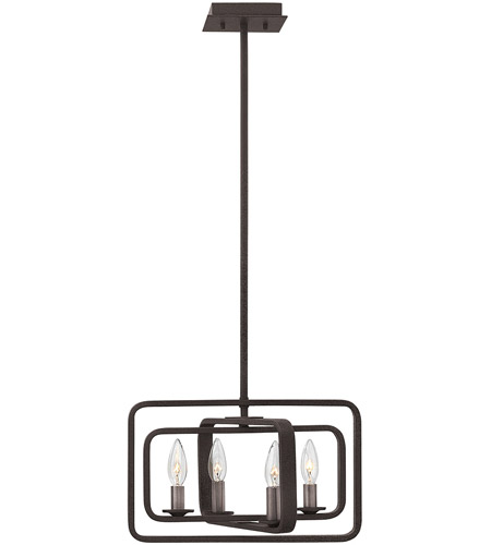Hinkley 4811DZ Quentin 4 Light 15 inch Aged Zinc Foyer Pendant Ceiling Light, Combo Mount photo