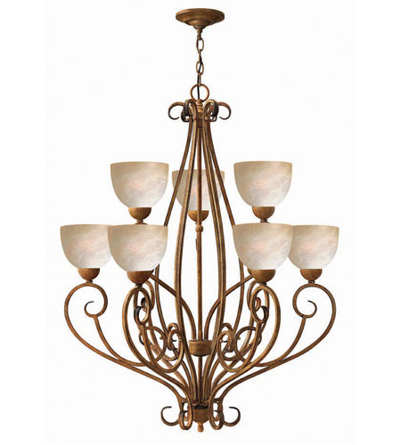 Hinkley Canyon Ridge 2 Tier 9Lt Chandelier in Antique Gold 4817AD photo
