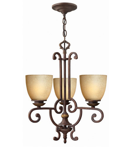 Hinkley French Creek 3Lt Chandelier in Weathered Iron 4833WI photo