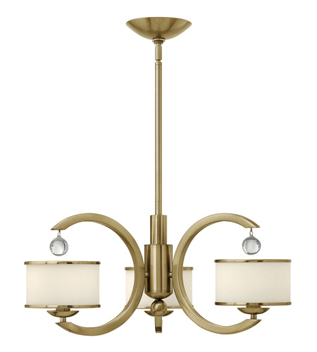 Hinkley 4853BC Monaco 3 Light 25 inch Brushed Caramel Chandelier Ceiling Light, Etched Opal Glass photo