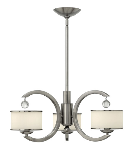 Hinkley 4853BN Monaco 3 Light 25 inch Brushed Nickel Chandelier Ceiling Light, Etched Opal Glass photo