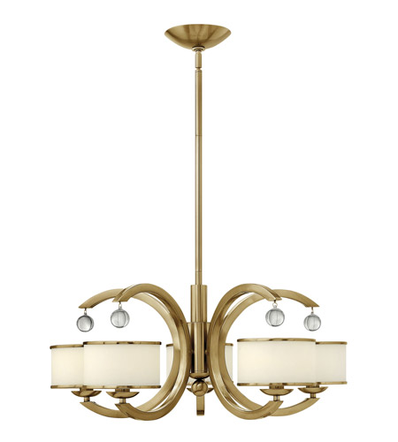 Hinkley 4855BC Monaco 5 Light 28 inch Brushed Caramel Chandelier Ceiling Light, Etched Opal Glass photo