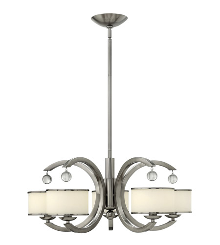 Hinkley 4855BN Monaco 5 Light 28 inch Brushed Nickel Chandelier Ceiling Light, Etched Opal Glass photo