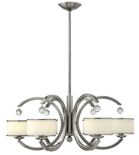 Hinkley 4856BN Monaco 6 Light 32 inch Brushed Nickel Chandelier Ceiling Light, Etched Opal Glass photo
