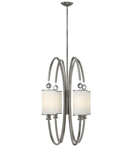 Hinkley 4858BN Monaco 4 Light 27 inch Brushed Nickel Foyer Ceiling Light, Etched Opal Glass photo