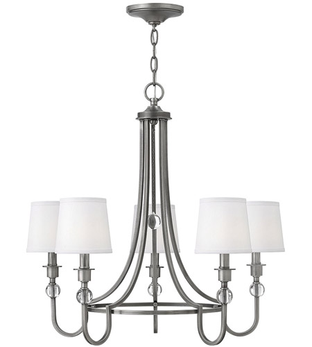 Hinkley 4875an Morgan 5 Light 27 Inch Antique Nickel Chandelier Ceiling White Linen Shade