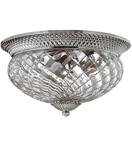 Hinkley Lighting Plantation 3 Light Flush Mount in Polished Antique Nickel 4881PL