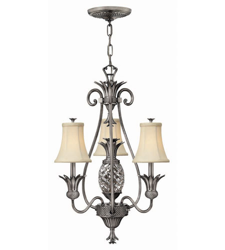 Hinkley Lighting Plantation 4 Light Chandelier in Polished Antique Nickel 4883PL