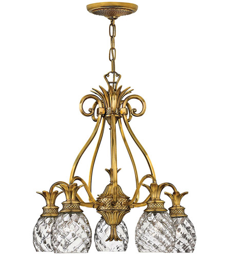 Hinkley 4885BB Plantation 5 Light 22 inch Burnished Brass Foyer Chandelier Ceiling Light  photo
