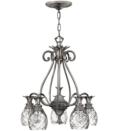 Hinkley 4885PL Plantation 5 Light 22 inch Polished Antique Nickel Foyer Chandelier Ceiling Light photo