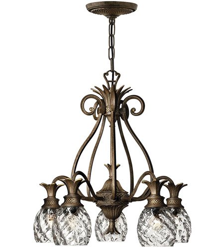 Hinkley 4885PZ Plantation 5 Light 22 inch Pearl Bronze Foyer Chandelier Ceiling Light photo