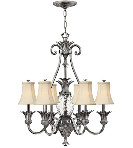 Hinkley 4886PL Plantation 7 Light 28 inch Polished Antique Nickel Foyer Chandelier Ceiling Light photo