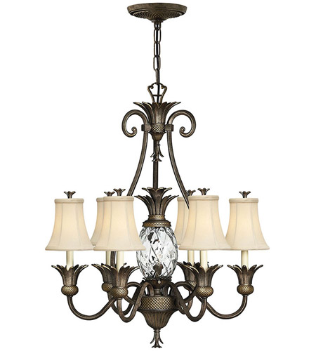 Hinkley 4886PZ Plantation 7 Light 28 inch Pearl Bronze Foyer Chandelier Ceiling Light photo