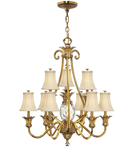 Hinkley 4887BB Plantation 10 Light 33 inch Burnished Brass Chandelier Ceiling Light, 2 Tier photo