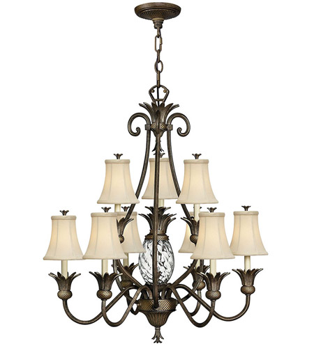 Hinkley 4887PZ Plantation 10 Light 33 inch Pearl Bronze Foyer Chandelier Ceiling Light, 2 Tier photo