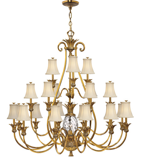 Hinkley 4889BB Plantation 22 Light 56 inch Burnished Brass Foyer Chandelier Ceiling Light, 3 Tier photo