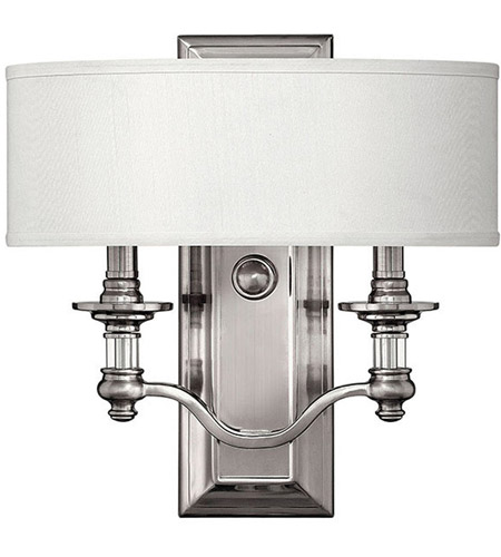 Hinkley 4900BN Sussex 2 Light 14 inch Brushed Nickel ADA Sconce Wall Light in Ivory Fabric Shade photo