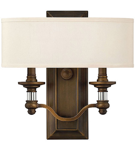 Hinkley 4900EZ Sussex 2 Light 14 inch English Bronze ADA Sconce Wall Light in Off-White Fabric Shade photo