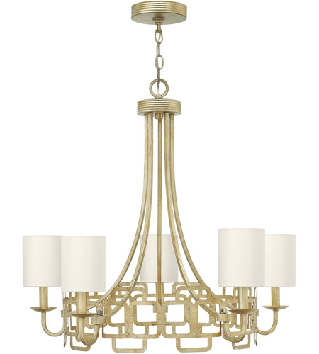 Hinkley 4915SL Sabina 5 Light 28 inch Silver Leaf Chandelier Ceiling Light, Eggshell Silk Shade photo