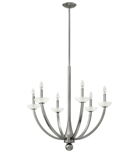 Hinkley 4926BN Splendor 6 Light 29 inch Brushed Nickel Chandelier Ceiling Light, Etched Glass photo