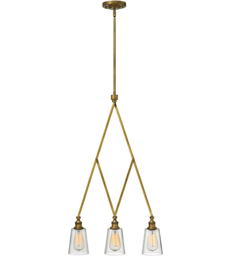 Hinkley 4933HB Gatsby 3 Light 20 inch Heritage Brass Chandelier Ceiling Light, Clear Glass photo