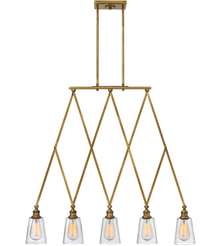 Hinkley 4935HB Gatsby 5 Light 36 inch Heritage Brass Chandelier Ceiling Light, Clear Glass photo