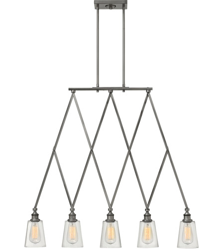 Hinkley 4935PL Gatsby 5 Light 36 inch Polished Antique Nickel Linear Chandelier Ceiling Light, Clear Glass photo