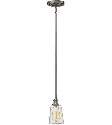 Hinkley 4937PL Gatsby 1 Light 5 inch Polished Antique Nickel Mini-Pendant Ceiling Light, Clear Glass photo