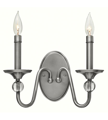 Hinkley 4952PL Eleanor 2 Light 13 inch Polished Antique Nickel Sconce Wall Light, Solid Crystal Elements photo