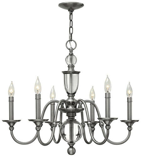 Hinkley 4956PL Eleanor 6 Light 28 inch Polished Antique Nickel Chandelier Ceiling Light, Solid Crystal Elements photo