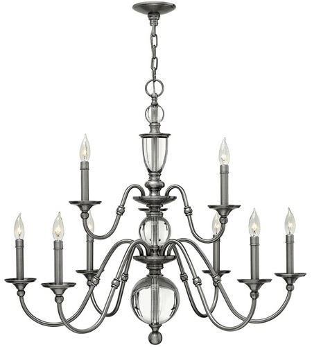 Hinkley Lighting Eleanor 9 Light Chandelier in Polished Antique Nickel 4958PL