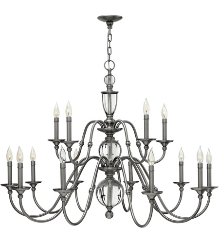 Hinkley Lighting Eleanor 15 Light Chandelier in Polished Antique Nickel 4959PL photo