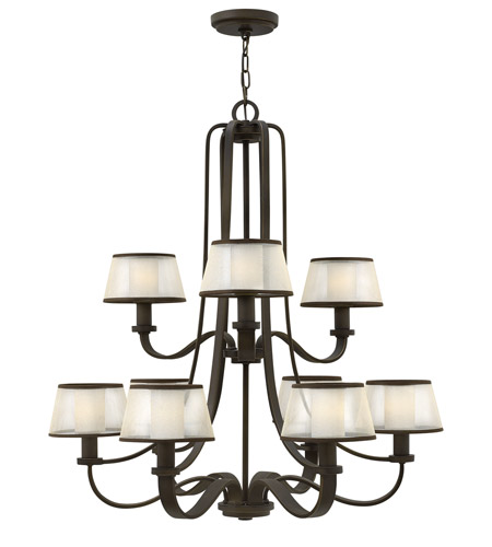 Hinkley 4968OB Prescott 9 Light 32 inch Olde Bronze Chandelier Ceiling Light photo