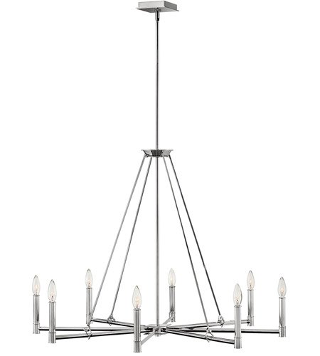 Hinkley 4988PN Buchanan 8 Light 38 inch Polished Nickel Chandelier Ceiling Light, Single Tier photo