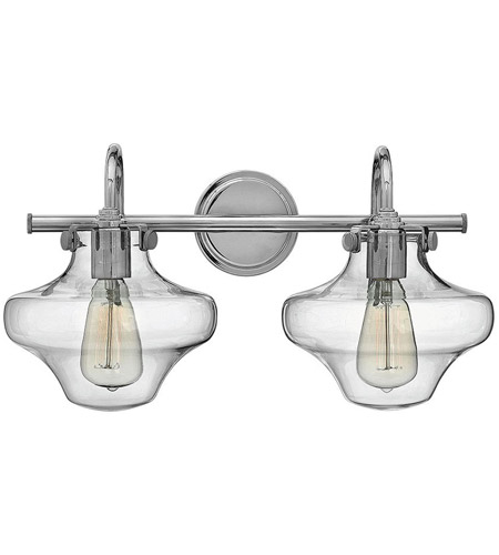 Hinkley 50021CM Congress 2 Light 20 inch Chrome Bath Light Wall Light, Retro Glass photo
