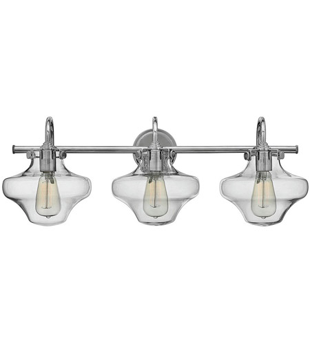 Hinkley 50031CM Congress 3 Light 30 inch Chrome Bath Wall Light, Retro Glass photo