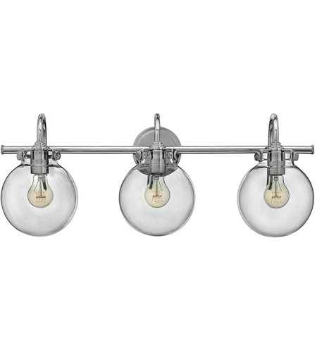 Hinkley 50034CM Congress 3 Light 30 inch Chrome Bath Light Wall Light, Retro Glass photo