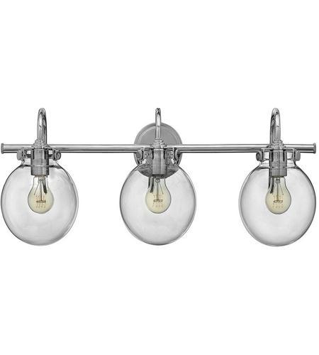 hinkley 50034cm congress 3 light 30 inch chrome bath light wall light retro glass