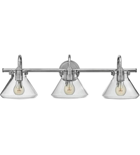 Hinkley 50036CM Congress 3 Light 30 inch Chrome Bath Light Wall Light, Retro Glass photo