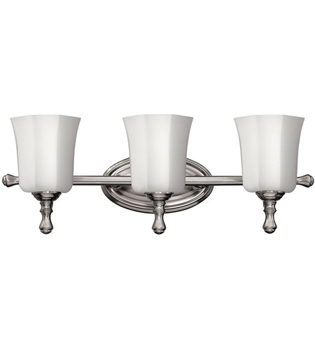 Hinkley lighting shelly 3 light bath vanity in brushed for Hinkley bathroom vanity lighting