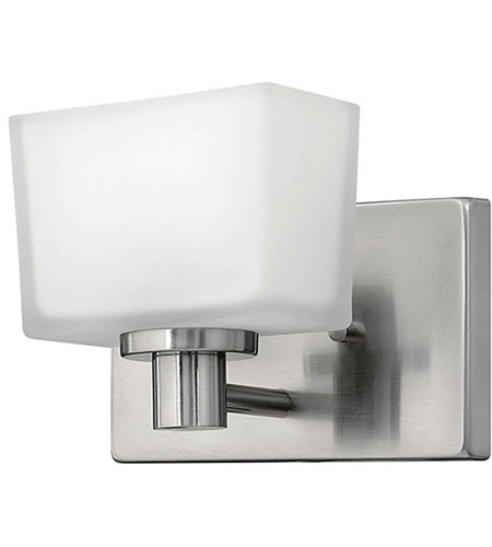 Hinkley 5020BN Taylor 1 Light 7 inch Brushed Nickel Bath Vanity Wall Light in Etched White photo