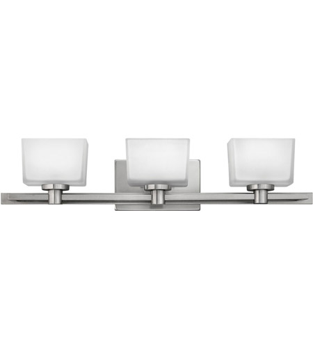 Hinkley 5023BN Taylor 3 Light 28 inch Brushed Nickel Bath Vanity Wall Light in Etched White photo