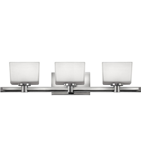Hinkley 5023CM Taylor 3 Light 28 inch Chrome Bath Vanity Wall Light in Inside-Painted White,  Outside-Etched photo